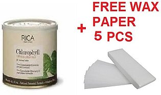 Rica Chlorophyll Wax - 400ml with 5 Free Wax Papers