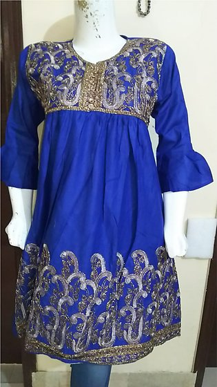 Navy blue color embroidered & stitched shirt for females stuff cotton by A-J ...