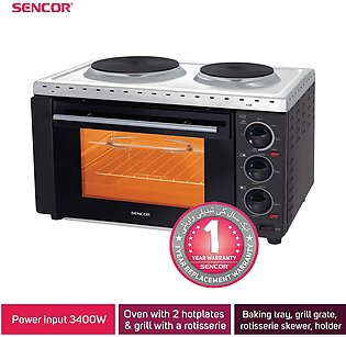 Sencor Electric Oven with hotplates & grill with accessories (bake, cook & gr...