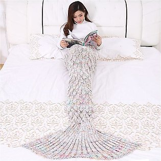 Mermaid Double crochet Hand Made Blanket Mermaid Tail Blanket with Fish-Scale...