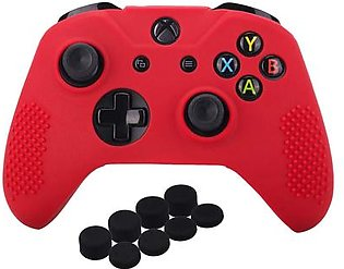 Studded Silicone Cover Skin Case for Microsoft Xbox One X & Xbox One S Controller x 1 with Pro Thumb Grips 8 Pieces(Red)