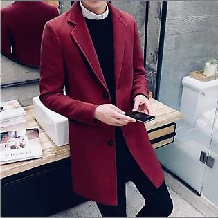 SastiShoppings Maroon A&S Three Buttons Long Coat For Mens