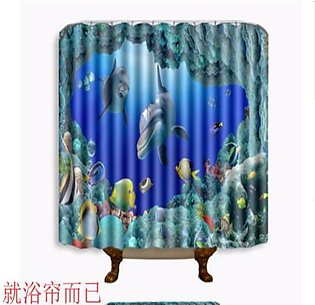 Fabric Shower Curtain With Hooks Ring 180x180cm