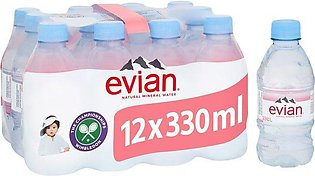 PACK OF 12 : EVIAN NATURAL MINERAL WATER 330 ML