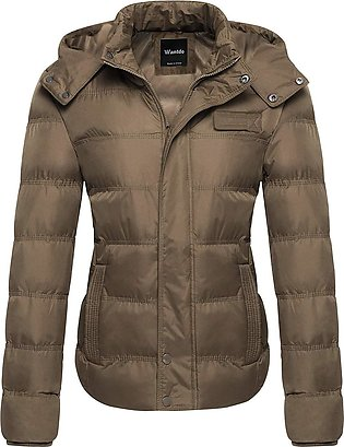 Ladies Brown Puffer Parachute with Cap Jacket for Women