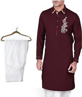 Buy 1 Ready Made Designer Kurta For Men - Design 2 - Mahroon chest flower + 1 Pajama