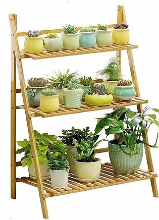 3-Tier Bamboo Plant Stand Storage Decorative Flower Frame Decoration Flower P...