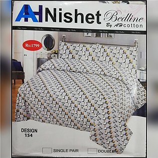 Nishet Bedline Multicolor Cream King Size Double Bed Bedsheet