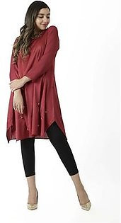 EGO Fall Collection 2019 Triangles Maroon Crinkle Kurti For Women