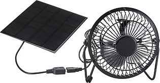 High Quality 4 Inch Cooling Ventilation Fan USB Solar Powered Panel Iron Fan Fo…