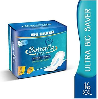 Pack of 4-Buterfly 16 Xxl Buterfly Long Wide Size Ultra Napkin Sanitary Pads