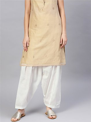 Women's White Cotton Solid Pleated Shalwar. Sm-294