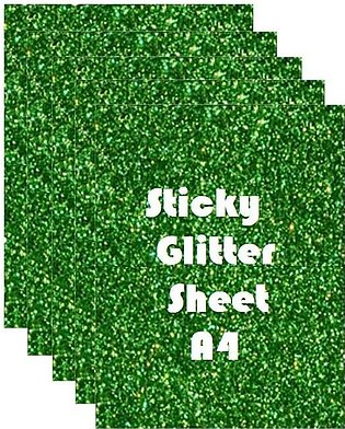 Pack of 5 - Sticky Fomic Glitter Sheets A4 Size for Art Work - Green