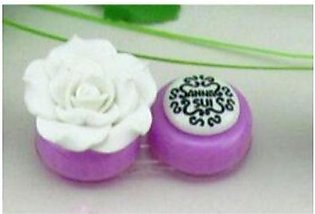 White Luxury Rose Contact Lens Case With Lens Holder And Tweezers For Women