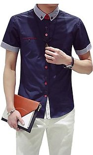 Mens Slim Fit Short Sleeve Casual Dress Shirt Formal Business T-Shirts Top