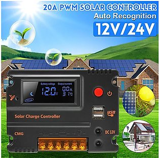 20A 12V/24V LCD PWM Solar Panel Solar Charge Controller Inverters Outdoor Energ…