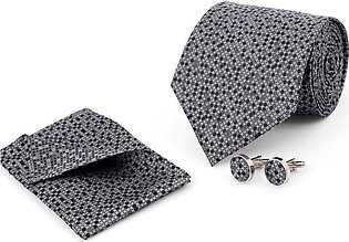 MULTI DOTS ON GREY REGULAR TIE AND CUFFLINK SET