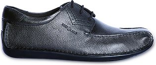 Reefland Black Leather Casual Shoes for Men-HERITAGE 2131