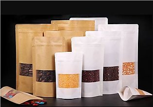 Sample Pack of 20 Kraft paper pouches Mix Sizes Brown kraft paper stand up pouc…