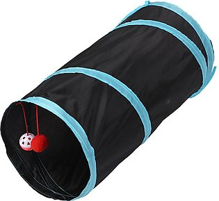 Pet Cat Tunnel 2 Holes Play Tubes Balls Collapsible Crinkle Kitten Toys Puppy F…