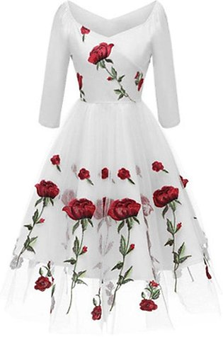 Party dress embroidered mesh seven-point sleeve dress