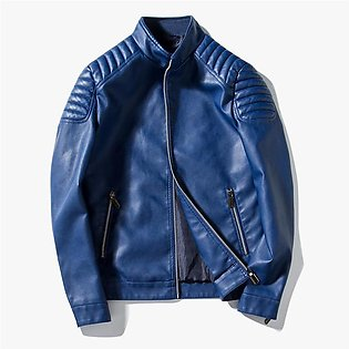 Mens Leather Jacket Design Stand Collar Motorcycle Leather Jacket