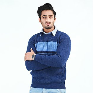 Oxford Lambswool Round Neck Sweater For Men