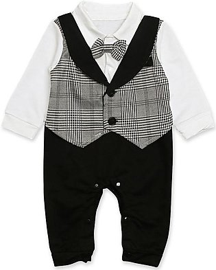 Children'S Spring Fall Boys Long-Sleeved Suit Fake Two Pieces Of Jumpsuit Crawl…