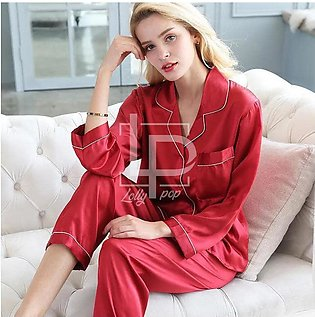 ANS Silk Plain Collar Night Suit (2 PCs - Shirt with Trouser / Pajama) for Wome…