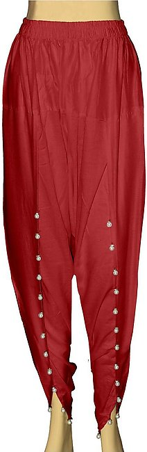 Dhanak Boutique Tulip Shalwar with Hanging Beads for Women in Soft Cotton - Red