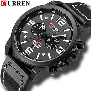 CURREN Newest Watches Men Leather Chronograph Wristwatch Fashion Quartz Date ...