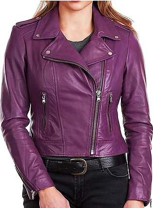 Feather hide WOMEN PURPLE CLASSIC MOTORCYCLE LEATHER JACKET