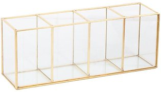 Luxury Clear Glass Makeup Box Cosmetic Storage Box Makeup Brushes Organizer Pen…