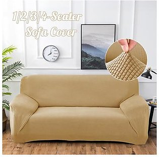 Polar Fleece Thickened Spandex Elastic Stretch Sofa Cover Slipcover Couch Beige 4 Seater Pillow Case Chair Cover
