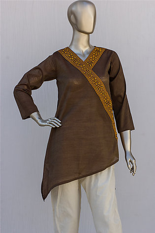 Brown Embroidered Cotton Kurti for Women