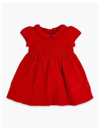 1 year Baby frock red colour (Linen stuff for winter) (only frock)