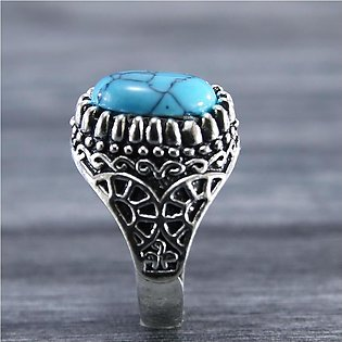 Silver Stainless Steel New Trendy Fashion Feroza Stone Men's Ring