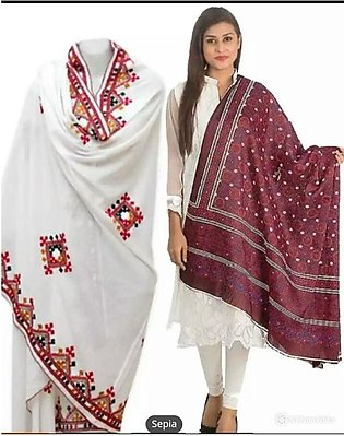 Pack of two women Sindhi embroidered ajrak plus chadar