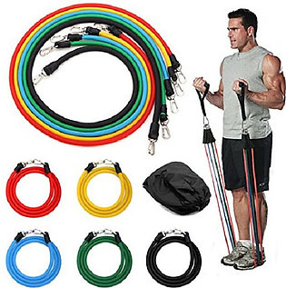 Power Resistance Band Set of 11 Piece 5 Tubes   Powerlifting Exercise Bands, Pe…