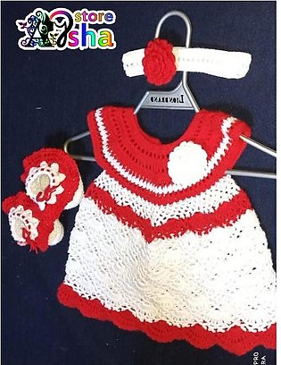 Crochet Handmade Made Baby Frock - Beautiful Qureshia Dress for 0-12 months girl