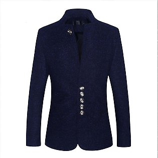 Men Business Casual Stand Collar Slim Suit Jacket
