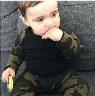Children'S Spring Autumn Boys Long Sleeve Camouflage Top + Trousers Two Pieces …