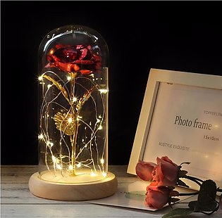 Rose In A Glass Dome With LED Light Wooden Base