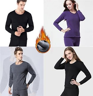 New Pack of 2 Matching Warm Winter Thermal Underwear Sets Solid Simple Elastic …