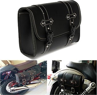 Purism Universal Motorcycle Saddle Leather Bag Storage Pouch For Harley For Dav…
