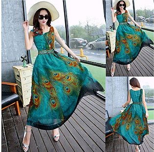 Women Dress O Neck SplicFloral Sleeveless Maxi