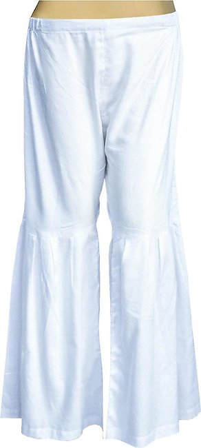 Dhanak Boutique Gharara Style Trousers for Women in Soft Cotton - White