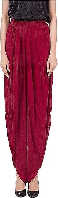 Basic Maroon Cotton Tulip Shalwar For Women