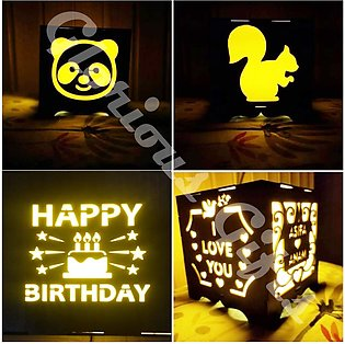Message engraved customized wooden lamp - LED light wooden box