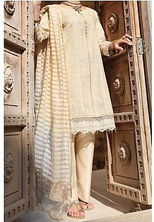 Almirah Summer Collection Vol: 03 RAW SILK Off White Ladies 03 PC Stitched Suit for Women